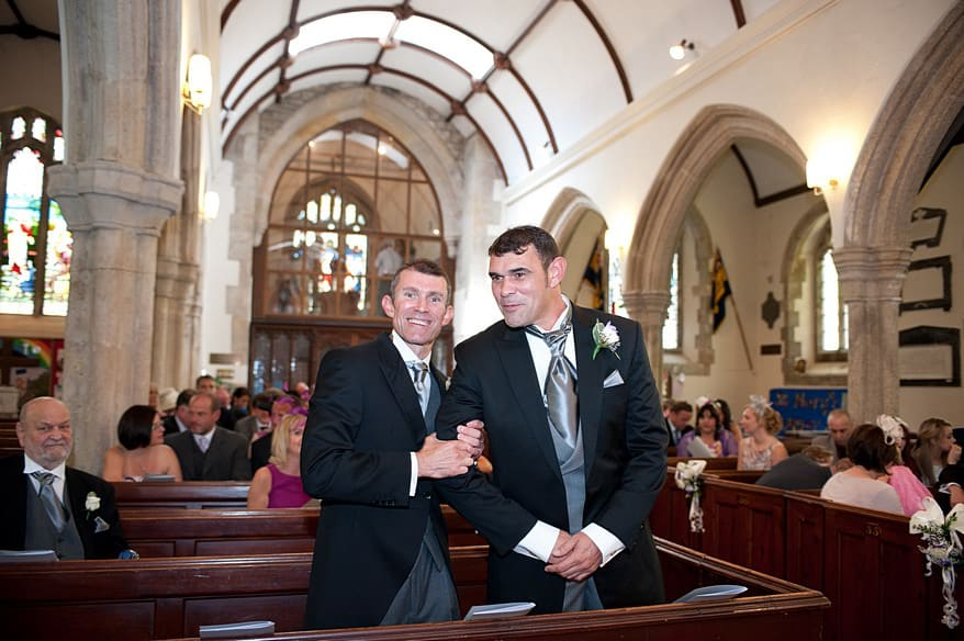 groomsmen inside St Marys church in plymouth