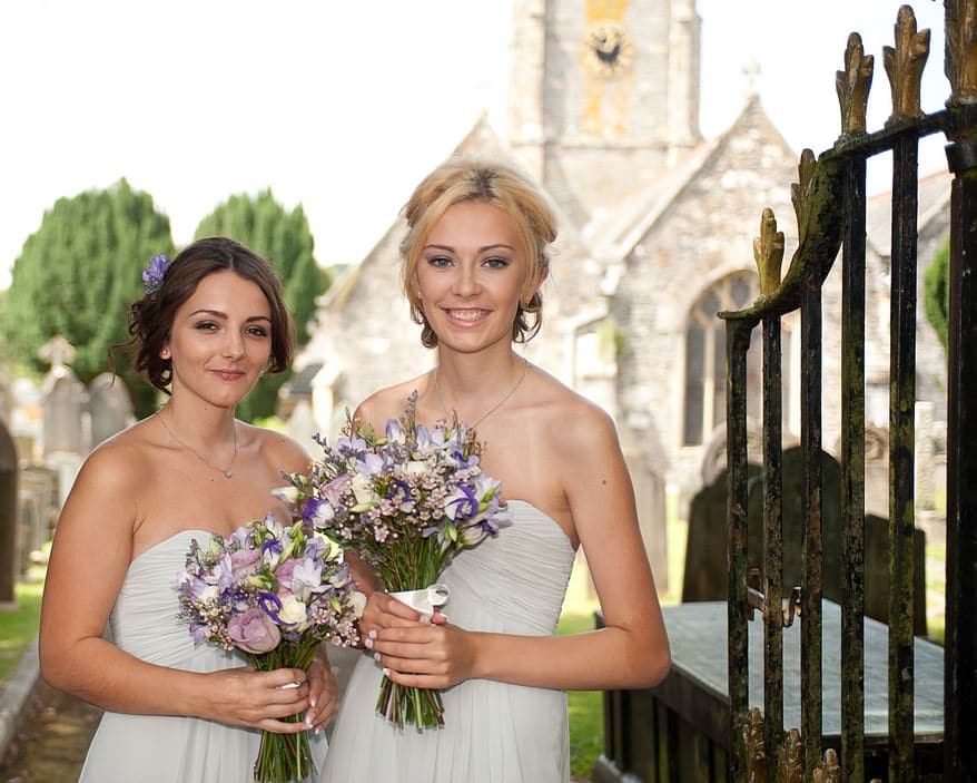 bridesmaids at St Mary's church in plymouth