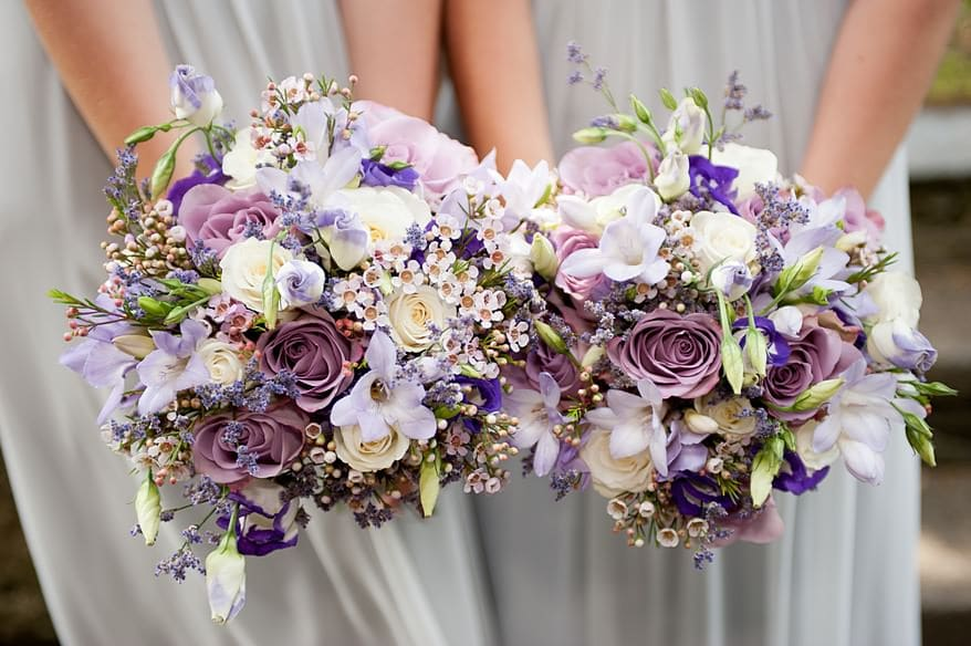 bridesmaids flowers at st mary's church in plymouth