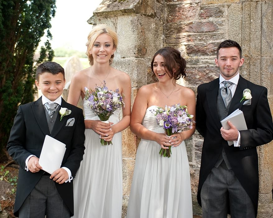 ushers and bridesmaids at st mary's church in plymouth