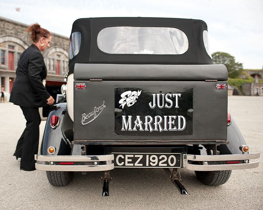 the wedding car at crowhill fort in plymouth