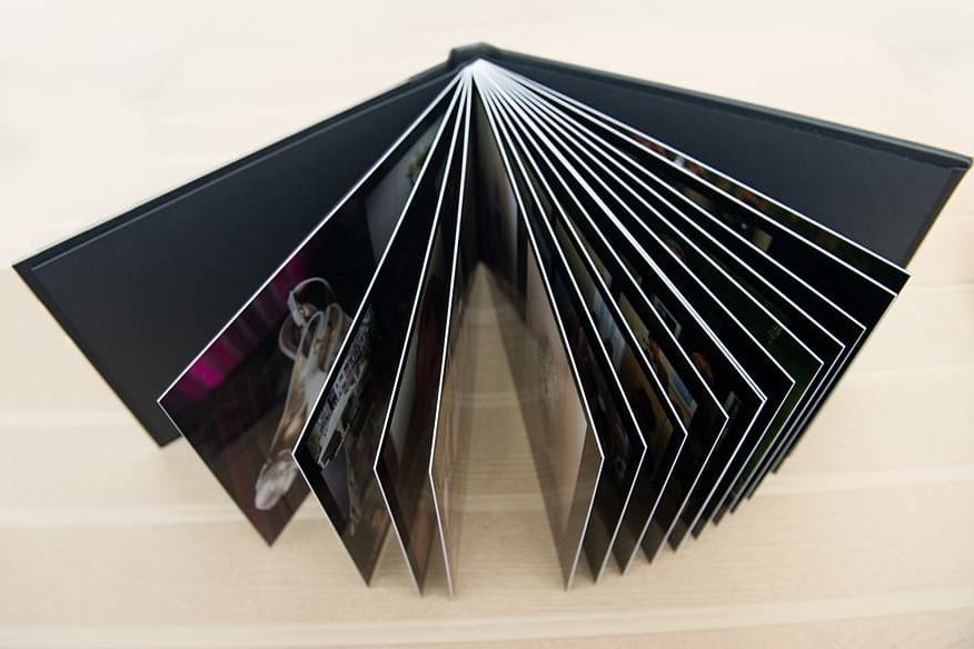 top view of the album showing the pages fanned out