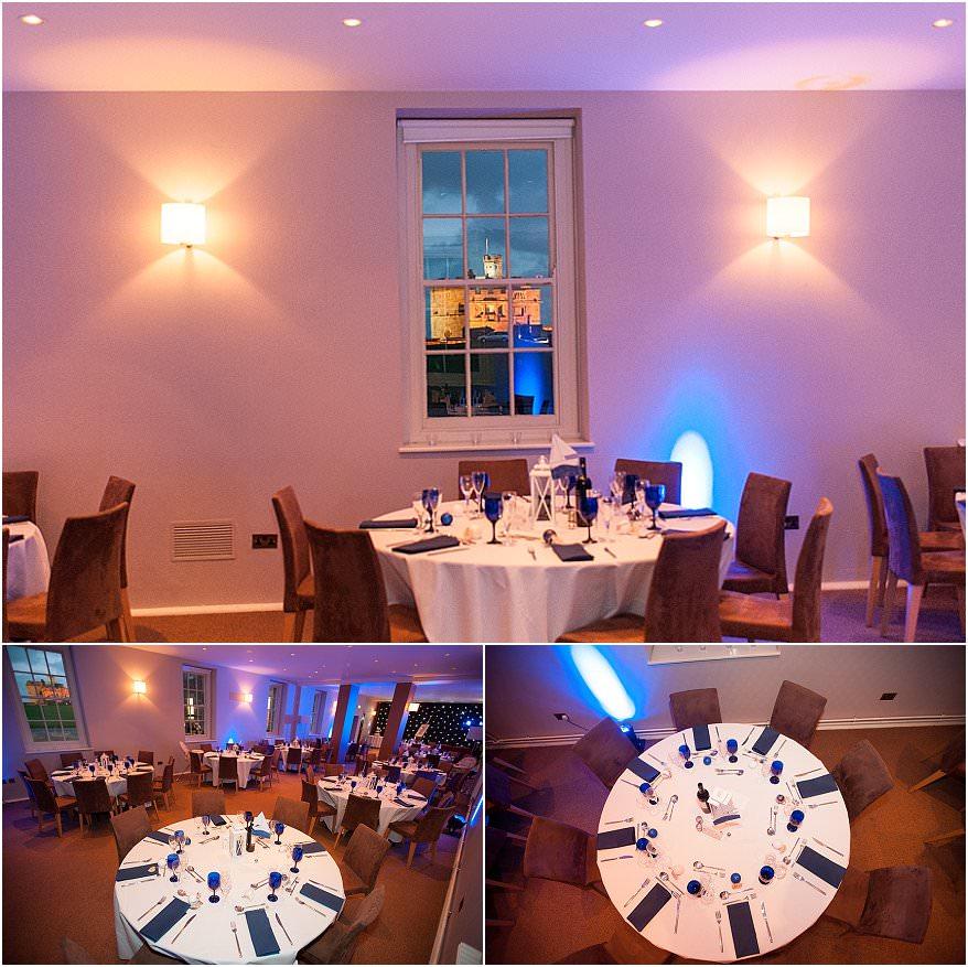 wedding reception room at pendennis castle