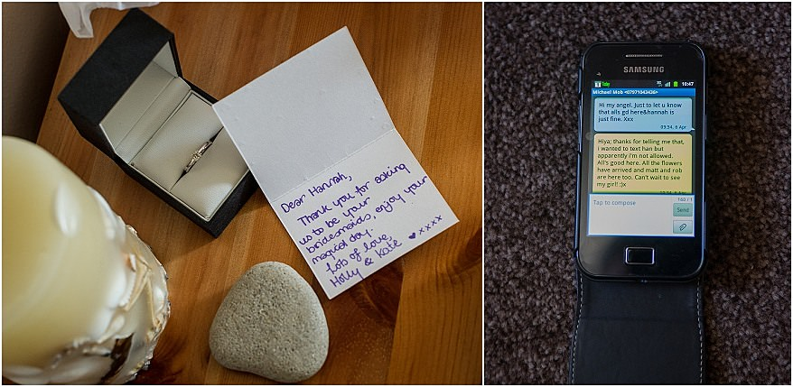 Text message from the groom and lovely note from the brides sister