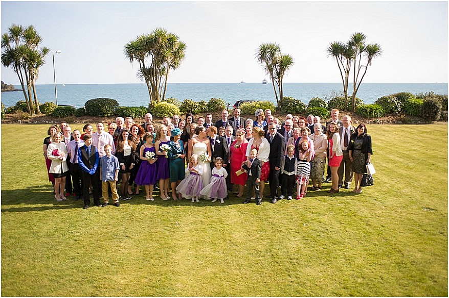 Group photo of the bridal party at the Falmouth Hotel