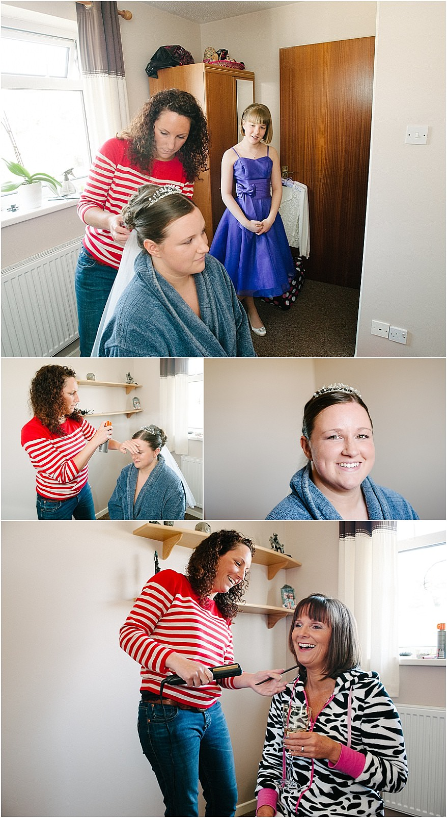 Bride having her hair and makeup done before the wedding