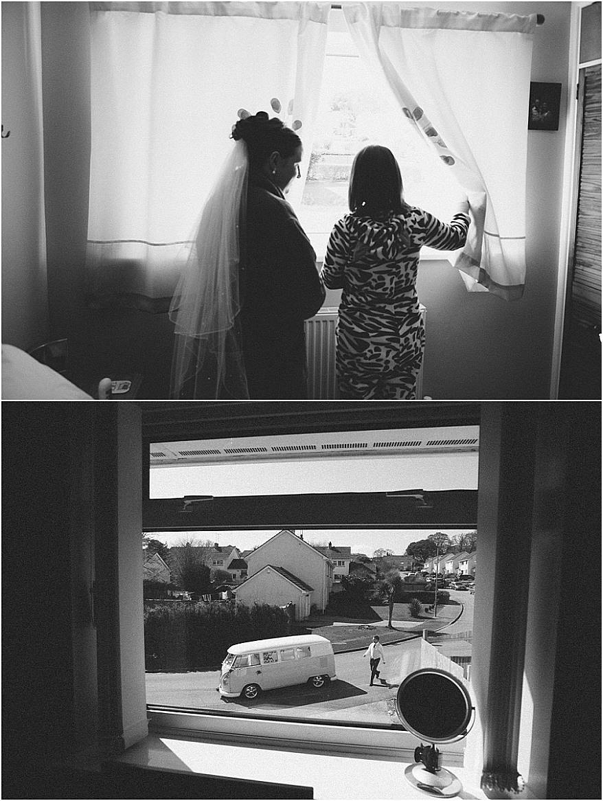 Bride looking out the window at her vintage VW campervan