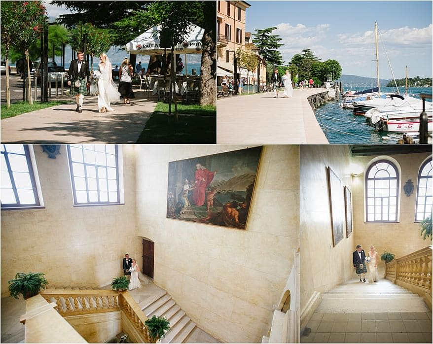 Salo town hall on lake garda with a bride and her father