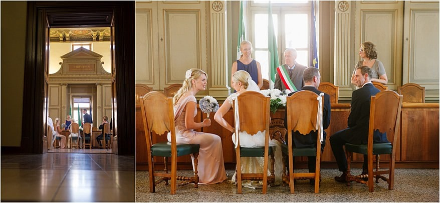 bridal party in salo town hall