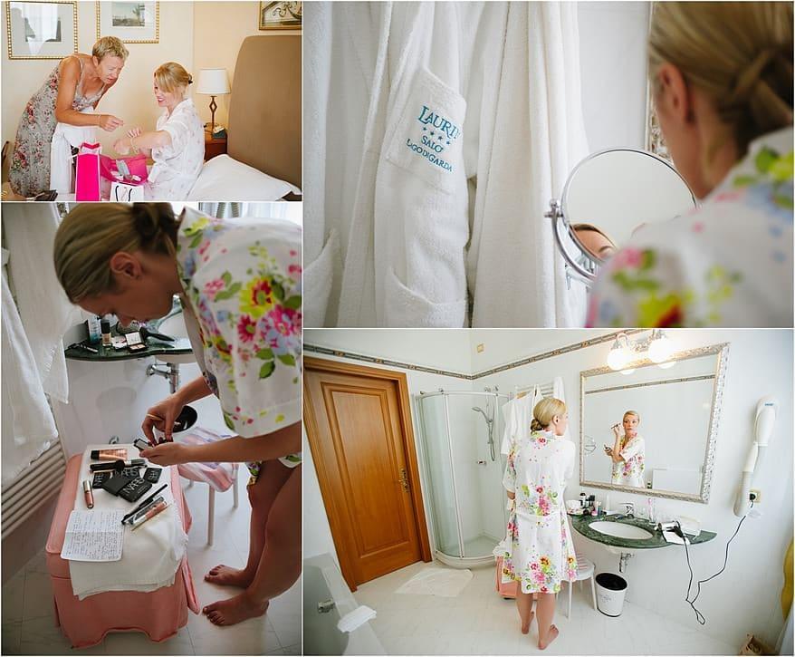 Wedding bride getting ready for her wedding at Lake Garda