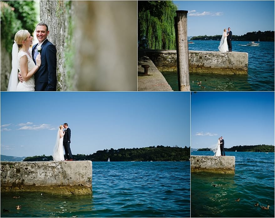 beautiful portraits of a bride and groom next to the lake in Salo, italy