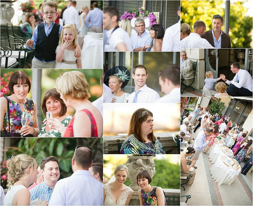 Candid photographs of wedding guests on the terrace of Hotel Laurin in Salo
