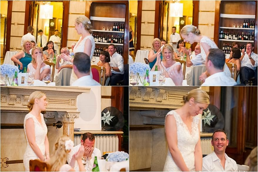 A bride doing her speech at Hotel Laurin at Lake Garda