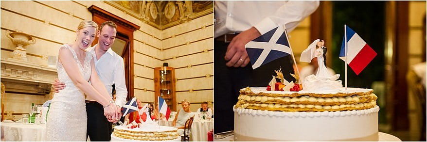 Bride and Groom cutting the cake in the resturant in Hotel Laurin
