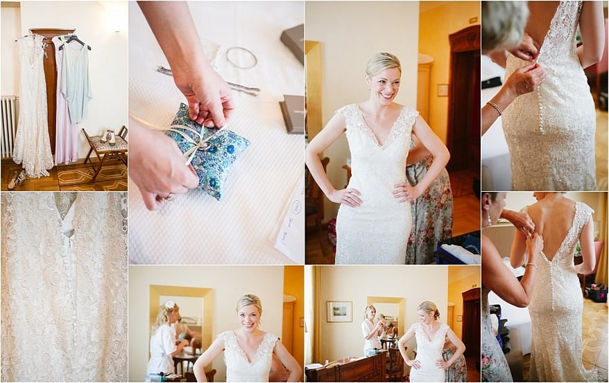 Bride putting on her dress for a Lake Garda wedding