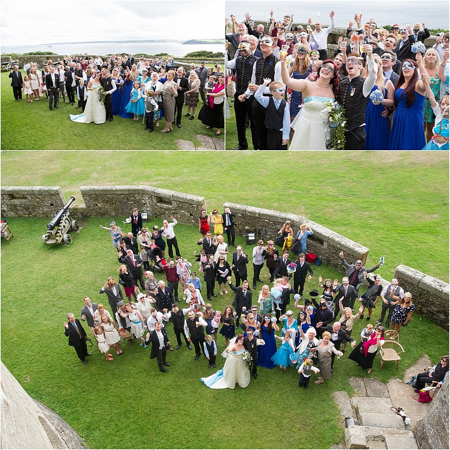 Group photograph of wedding guest in the Pendennis Castle's chemise