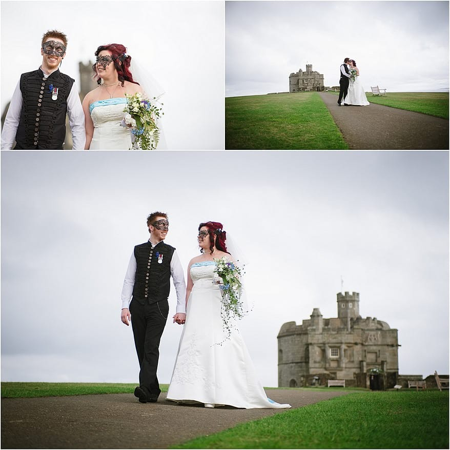 Bride and Groom coming out of Pendennis Castle