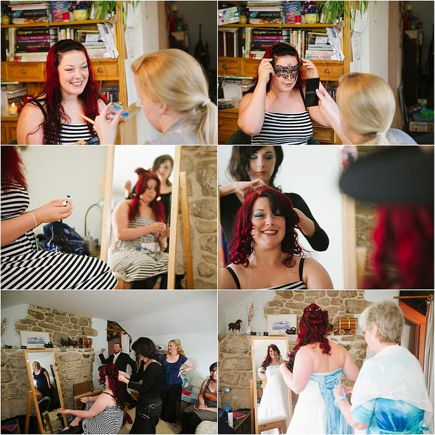 Bridal Preperation for Pendennis Castle wedding Photography