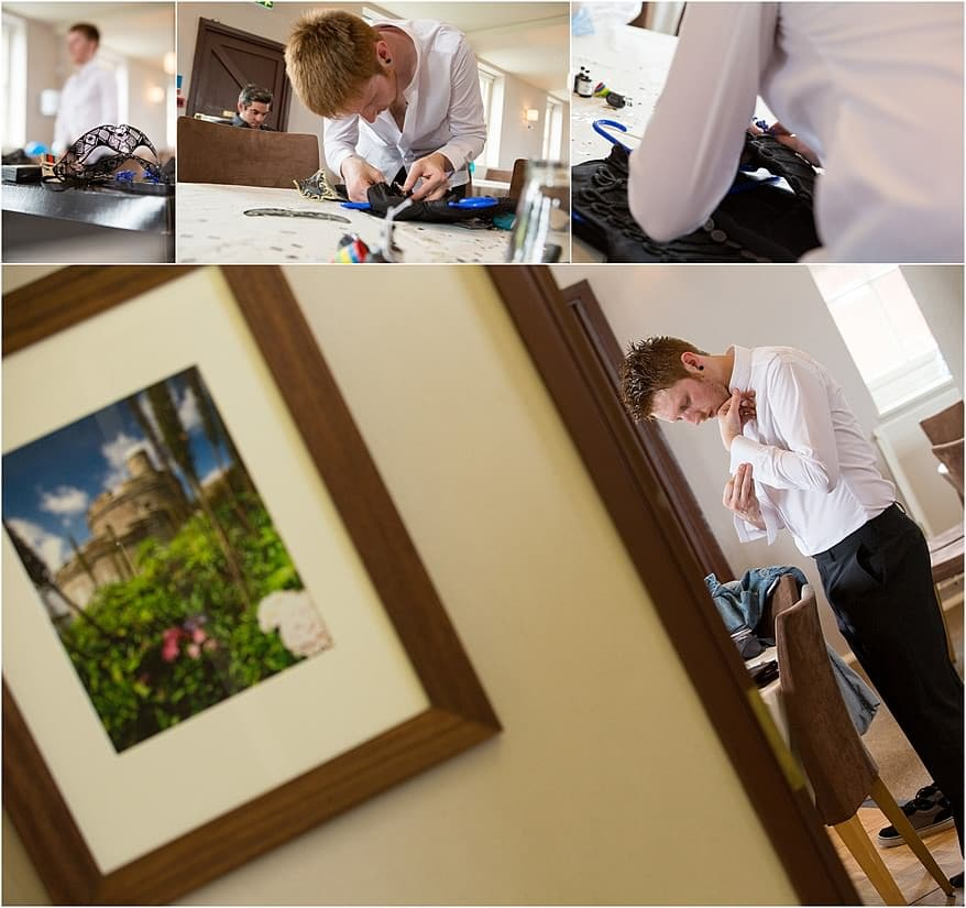 Groom Preperation for Pendennis Castle wedding Photography