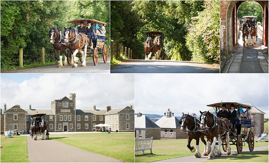 Shirehorses and carriage for Pendennis Castle wedding photography