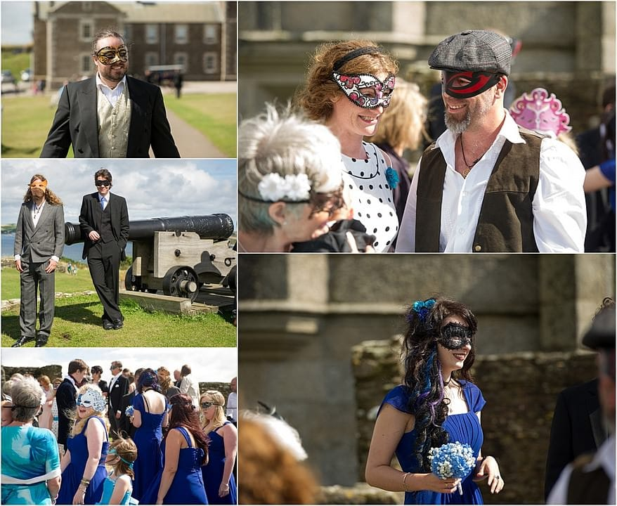 masquerade wedding guests for a pendennis castle wedding