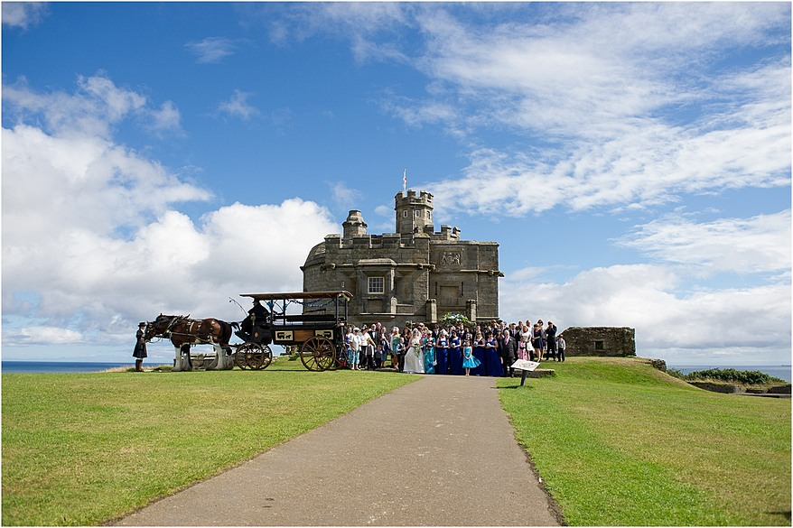 Wedding Guests outside Pendennis Castle wedding photography
