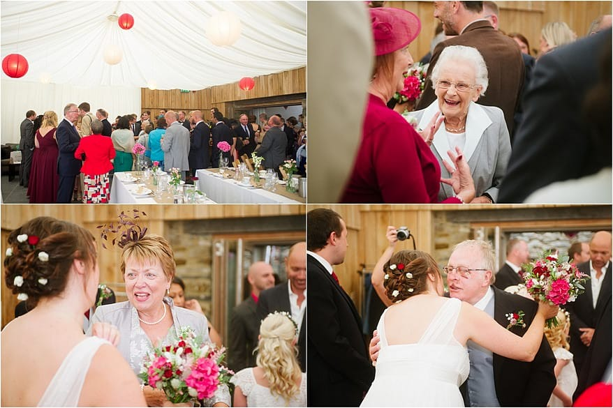 candid photographs of the wedding guests smiling and laughing