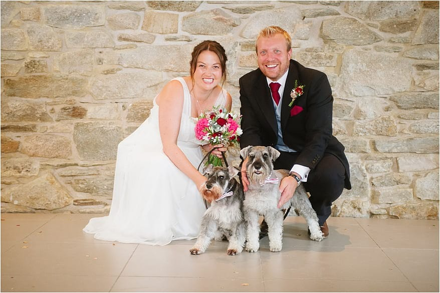 bride and groom having a photograph with their dogs