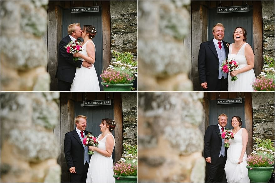 bride and groom sharing a moment together in the doorway of a barn