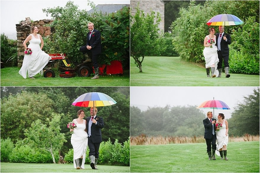 candid photographs of the bride and groom in the grounds of trevenna barns