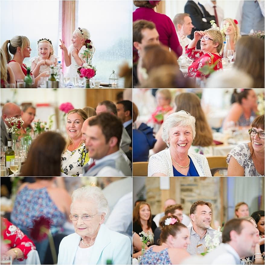candid shots of the wedding guest before the speeches