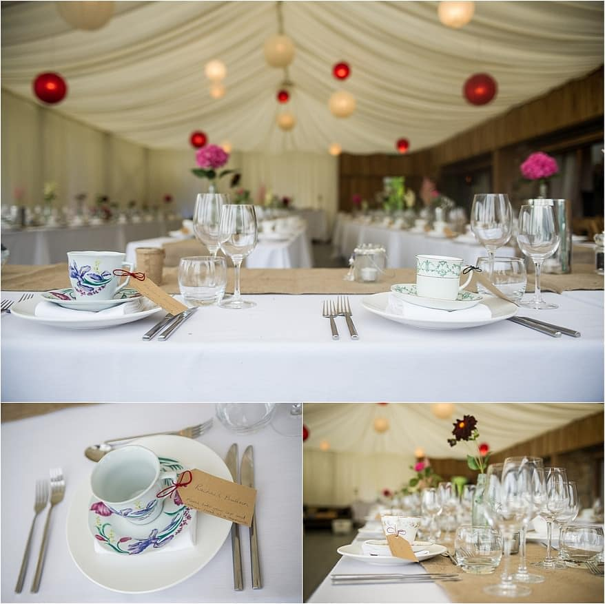 vintage cups as wedding favours