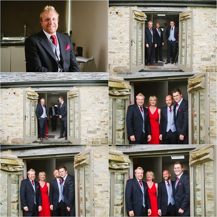 groom standing in the doorway with his groomsmen