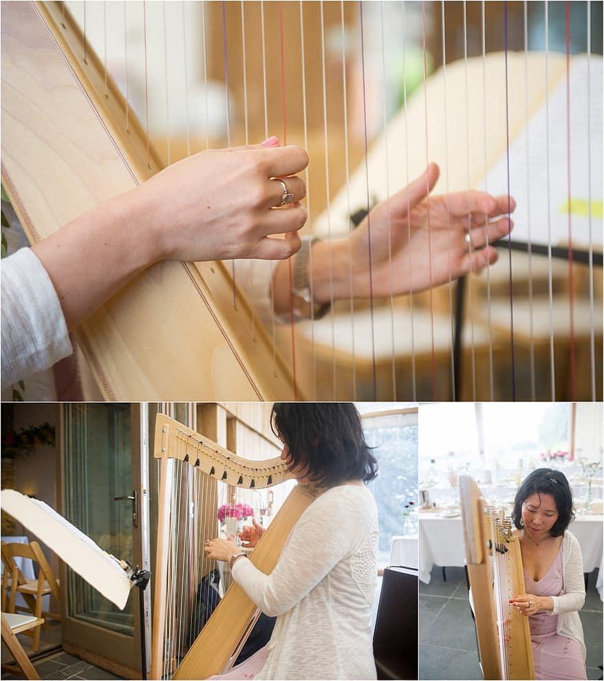 harp player practicing at trevenna barns