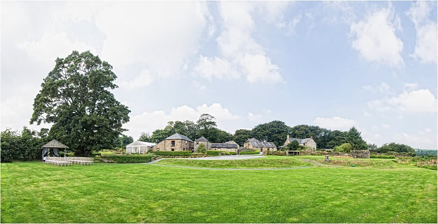 A panoramic view from the lawn at Trevenna Barns