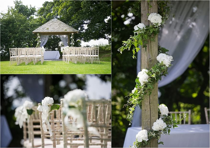 The Abour at Trevenna Barns decorated with wedding flowers