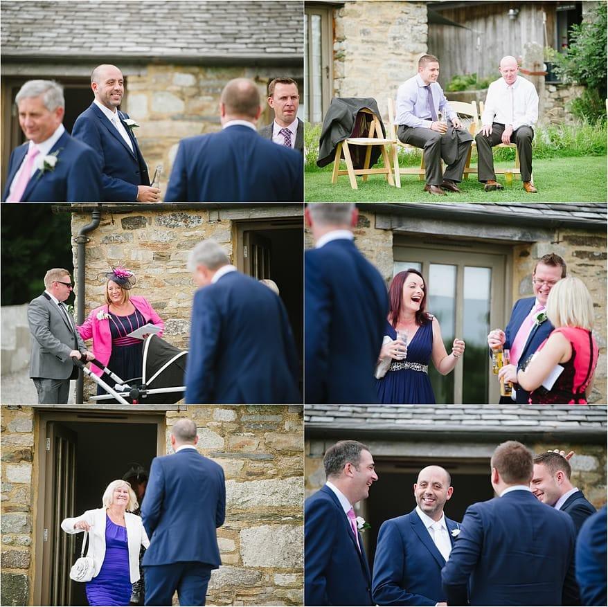 Wedding guests before a wedding at Trevenna Barns