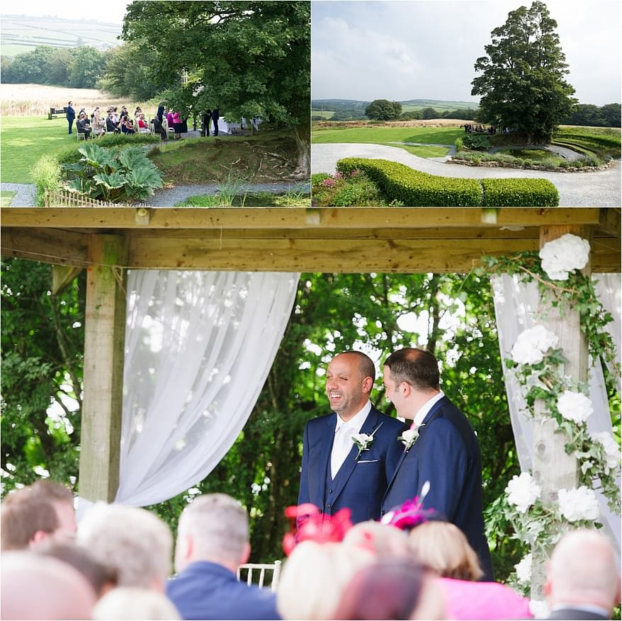 Groom under the Abour on the lawn of Trevenna Barns