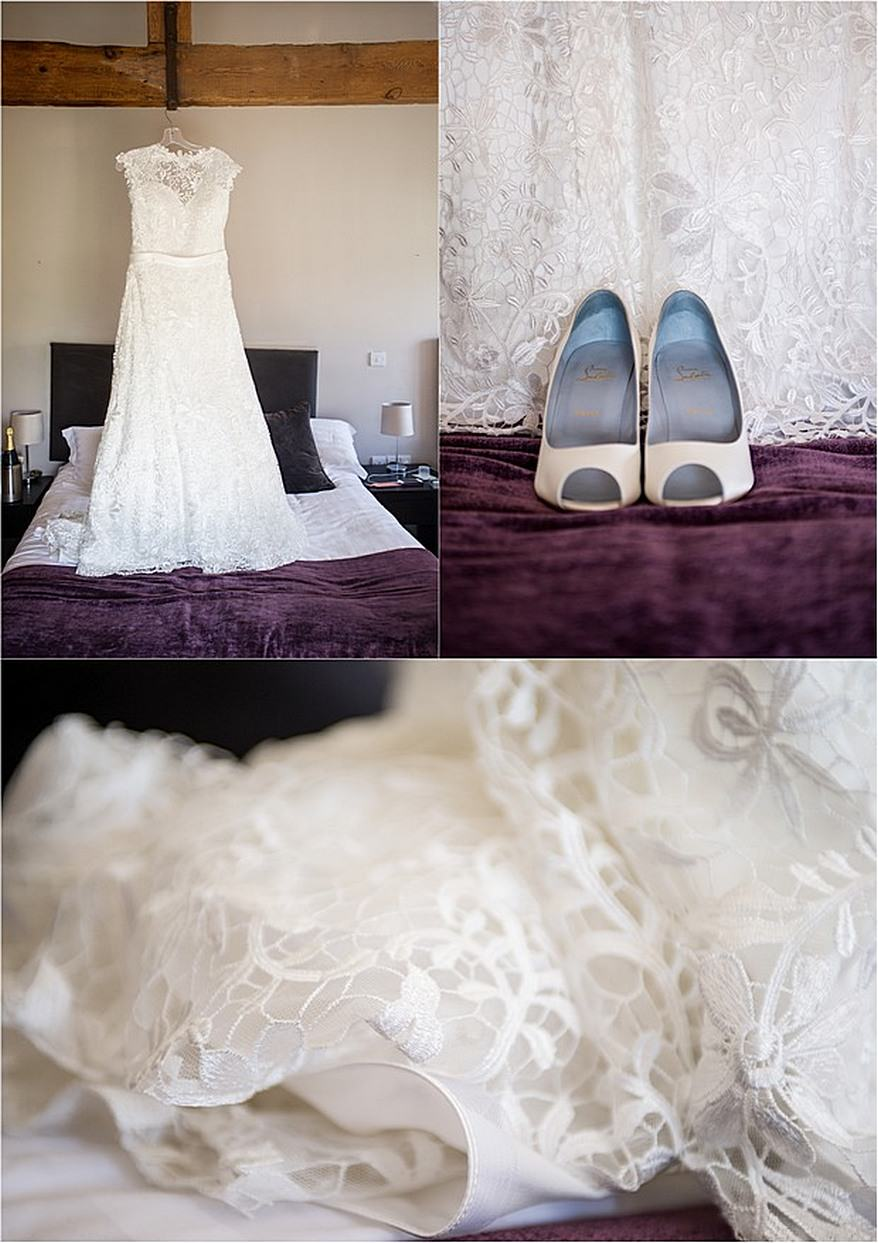 Brides dress and shoes in the bridal suite at Trevenna Barns