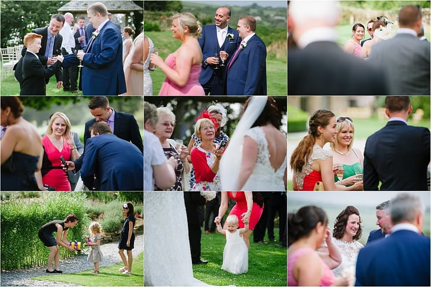 collection of guest at a wedding at trevenn barns