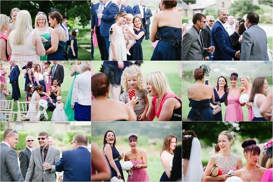 wedding guest enjoying drinks and champange at trevenn barns