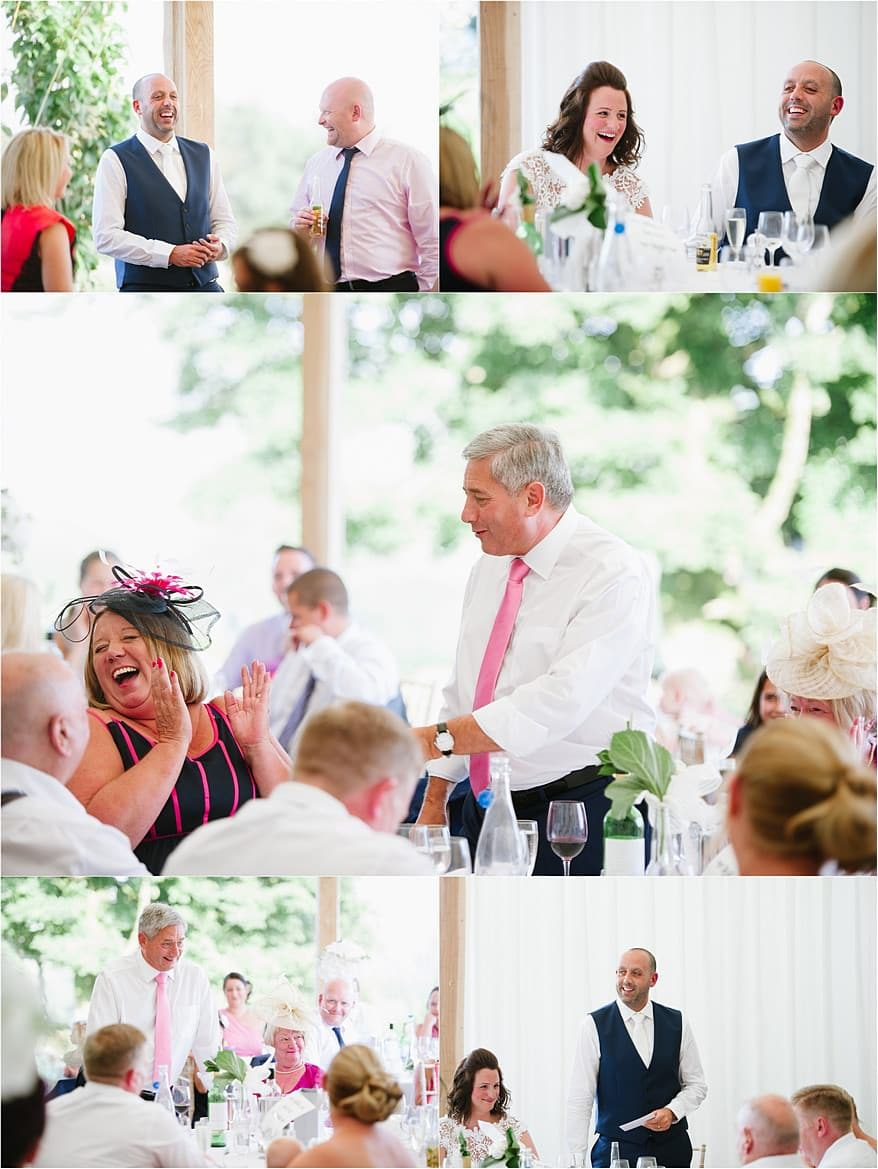 wedding speeches in the marquee at Trevenna Barns