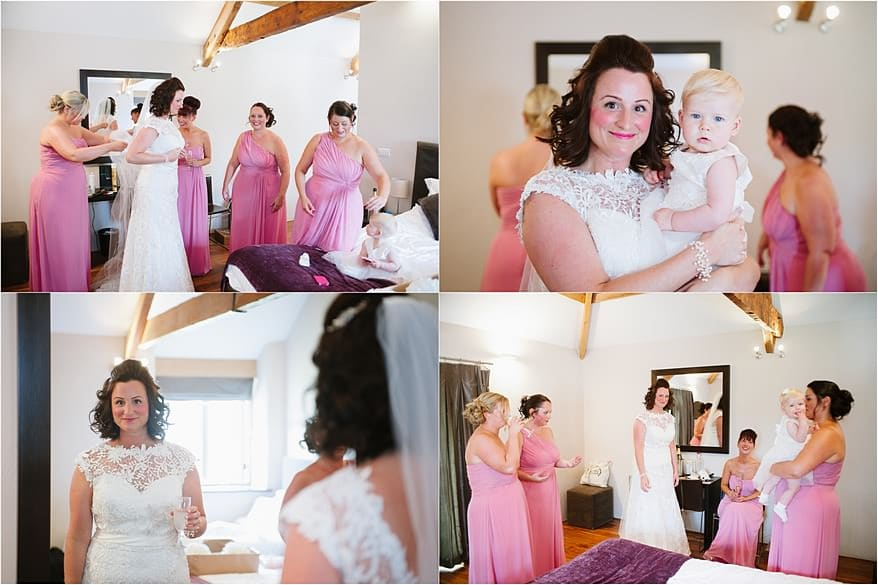 A beautiful bride with her bridesmaids at a Trevenna Barns wedding
