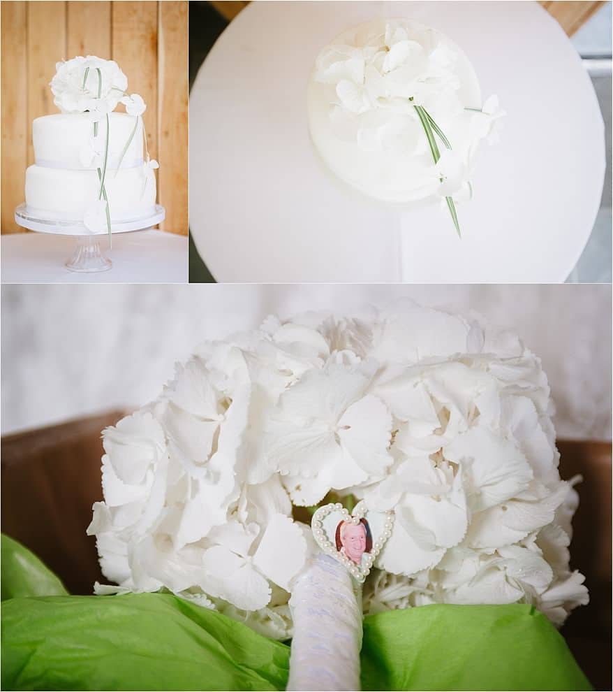 Beautiful white wedding cake at Trevenna Barns