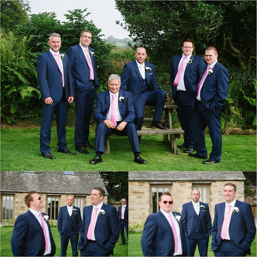 Group Photograph of the groomsmen at Trevenna barns