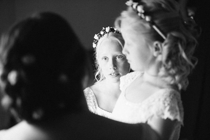 cute flowergirls at a Trevenna Barns wedding