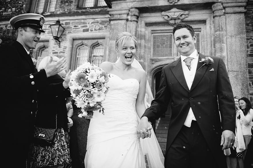very happy bride and groom at a Mount edgcumbe wedding