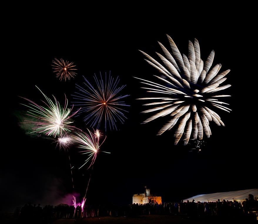fireworks at a Pendennis Castle wedding