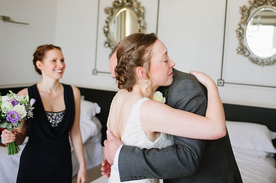 emotional bride hugging her dad at the Carbis Bay Hotel