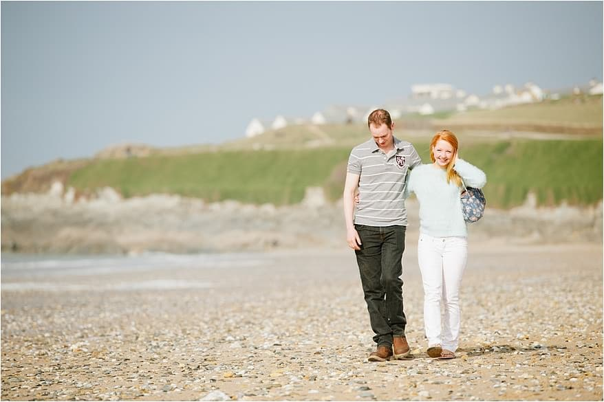 Engaged couple enjoying their newquay engagement shoot